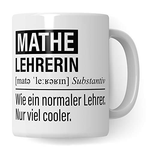 Mathelehrerin Tasse, Geschenk für Mathe Lehrerin, Kaffeetasse Geschenkidee Lehrerin, Kaffeebecher Lehramt Schule Mathematik Unterricht Witz Mathematiklehrerin