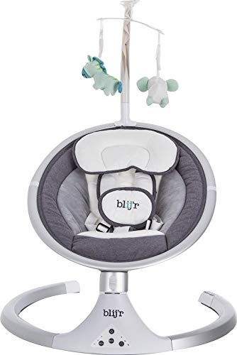 blij'r Derk Plus Babyschaukel Babywippe Baby Wippe Schaukel Elektisch mit USB MP3 Bluetooht für Musik Grau