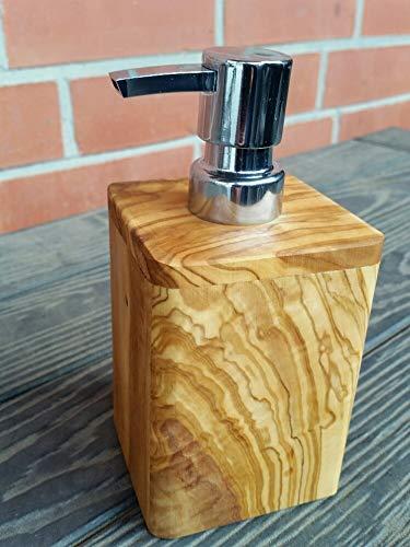 D.O.M.® Seifenspender aus Olivenholz - von rustikal bis Edel - Porzellan, Edelstahl, Olivenholz (Seifenspender Enjoy Nr. -006)