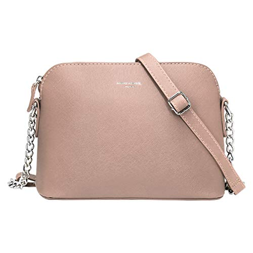 David Jones Piccola Borsa a Tracolla Spalla Donna Catena Borsa Mano PU Pelle Messenger Crossbody Bag Clutch Borsetta Sera Pochette Elegante Shopping Viaggio Sacchetto Borsello 22x17x10 cm Rosa