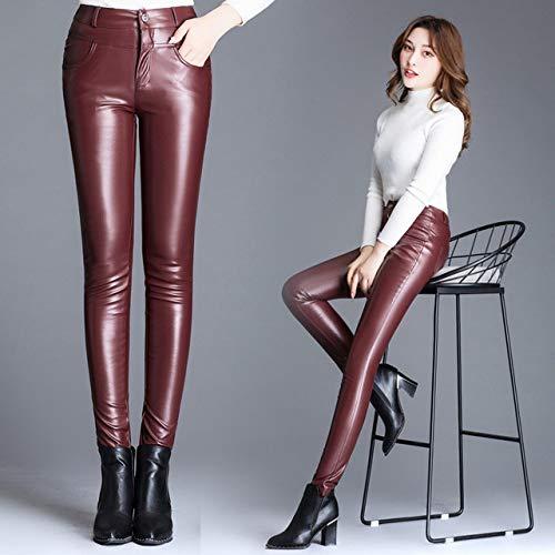 JKYIUBG Pantalones de Cuero, Invierno Otoño Moda Mujer Mujer Delgado Flaco Vino Rojo Negro Pantalones de Cuero, de Oveja Real, Otoño Mujer Pantalones de CU