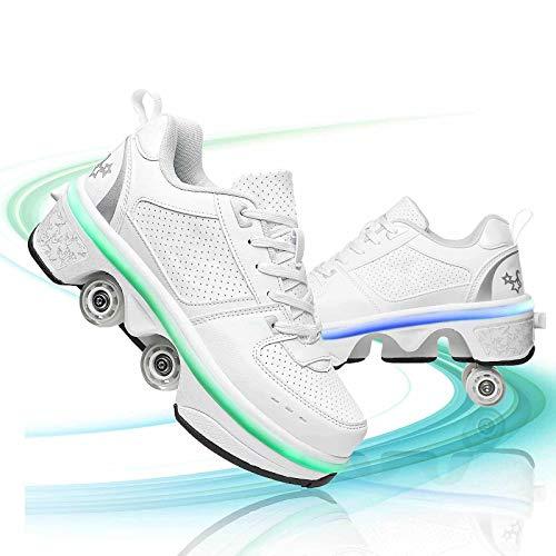 JYHGX Patines de Ruedas Retráctiles para Mujer LED Zapatos Ajustables de Doble Fila Quad Skating Zapatos de Polea para Deportes Al Aire Libre