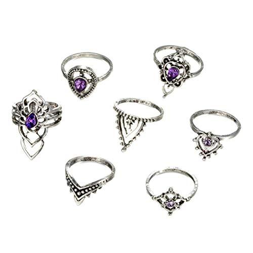 xiaowang Juego de 7 anillos creativos, anillos de nudillos, juego de anillos de nudillos de cristal morado vintage, anillo de diamante hueco para mujer y niña, joyería de regalo