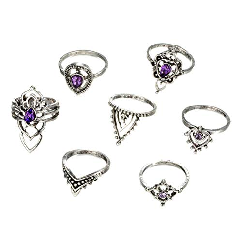 Tixiyu Knuckle Stacking Rings for Women Teen Girls,Boho Vintage Finger Rings Stackable...
