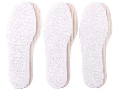 biped 3 Paar Barfußsohlen - Einlegesohlen Frottee Baumwolle - weich & antibakteriell - Schuheinlagen mit frischem Duft z1016(40)