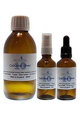 argentum plus - Colloidal Silver 10 ppm Starter Kit - 200 ml Refill bottle + 50 ml Dropper + 50 ml Spray