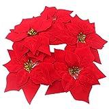 nykkola, fiore artificiale per decorazione albero di natale, stella di natale rossa, realistica, in seta, diametro 20,3 cm 30pcs