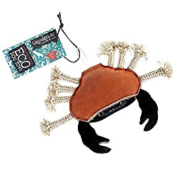Make your dog very happy with this crazy Carlos Crab toy! With a suede outer covering a filling of natural jute fibres with natural jute rope. Size: 170mm (width) (inc. legs) x 75 mm (legs length) Colour: Orange Suede and black Material: Suede and Ju...