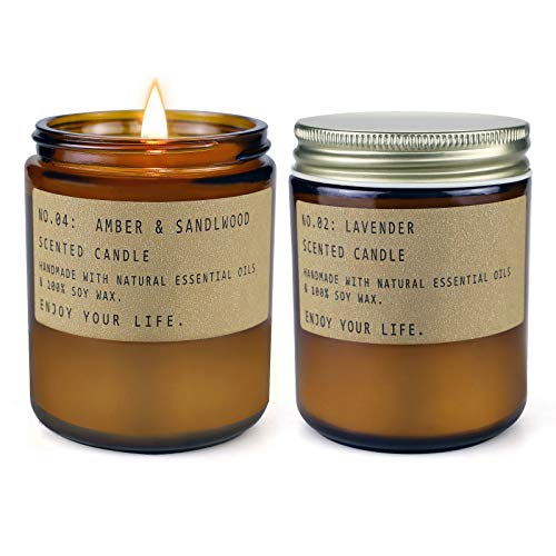Scented Candles, Aromatherapy Candles for Home, Long Lasting Jar Soy Candles for Relaxation, Gifts Set for Women, Lavender and Amber Sandalwood, 2 Pack