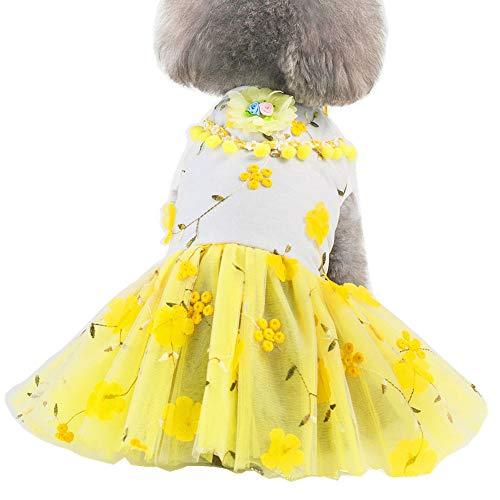 QingLuo Pet Dog Mesh Dress Embroidery Plum Blossom Puppy Princess Tutu Skirt (Small, Yellow)
