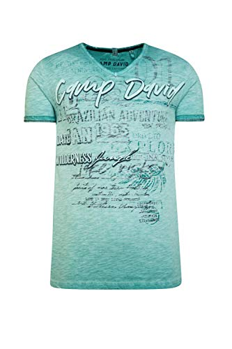 Camp David Herren T-Shirt mit V-Neck und Print Artwork