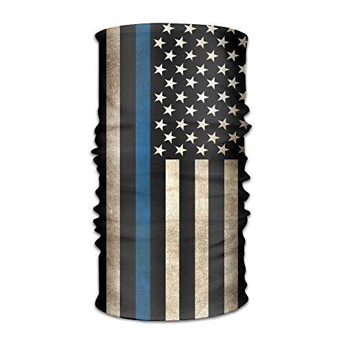 dingjiakemao Unisex Stylish Thin Blue Line Flag USA American Quick Dry Microfiber Headwear Outdoor Magic Bandana As Neck Gaiter Head Wrap Headband Scarf Face Mask Ultra Soft Elastic One Size