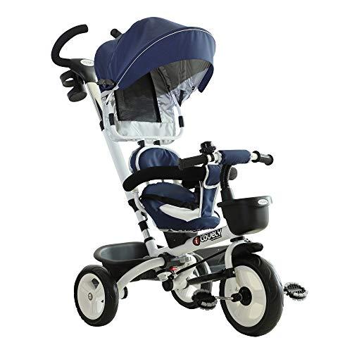 HOMCOM Triciclo Passeggino per Bambini con Maniglione Tetto Parapioggia Regolabile Rimovibile Seggiolino Girevole Cestino Striscia Catarifrangente Parafango Anteriore, Blu,118x53x105cm