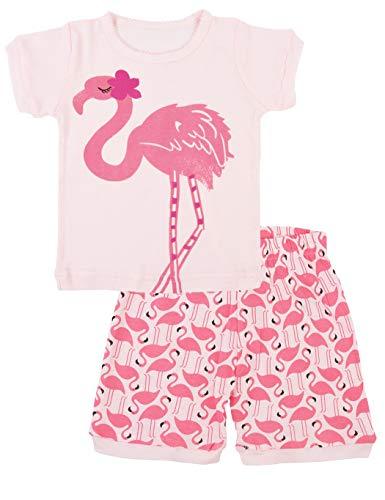 Meisjes pyjamas Pink Flamingo korte mouwen broek stuk gedrukte inbouw kinderen lange mouwen