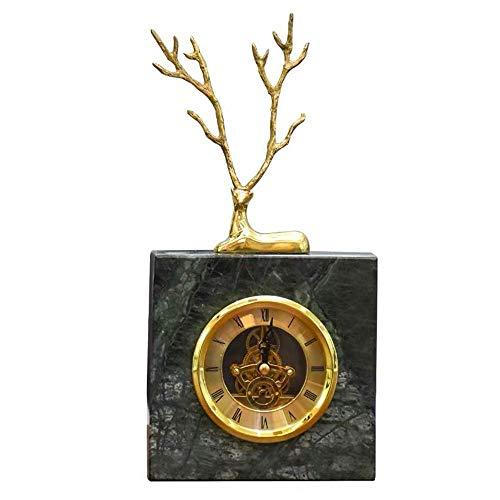 Nuevo reloj despertador Reloj de escritorio retro Reloj de escritorio de ciervo de cobre europeo Reloj de mesa de mármol para la sala de estar de la oficina Hogar para el dormitorio Sala de estar (Col