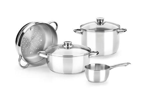 Monix Optima - Menaje 4 Piezas de Acero Inoxidable 18/10, Apta para Todo Tipo de cocinas Incluidas de inducción (Braisogona_M450022)