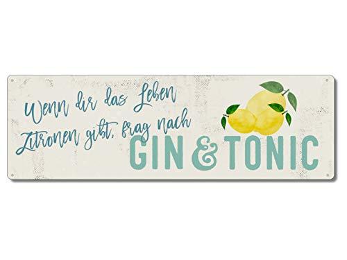 Interluxe Metallschild - Wenn dir das Leben Zitronen gibt - Gin-Tonic Schild als Geschenk oder Dekoration für Cocktailbar, Party, Barmixer, Partykeller