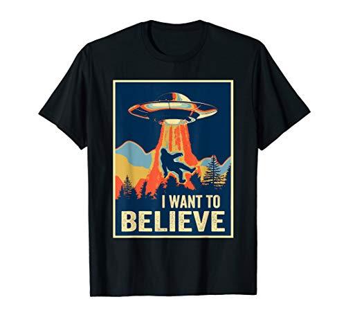 I Want To Believe Bigfoot TShirt Area 51 Alien UFO