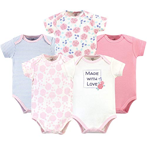 Touched by Nature Unisex Baby Organic Cotton Bodysuits, Pink Rose, 12-18 Months