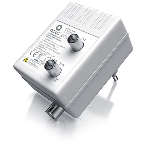 CSL-Computer Antennen- Verstärker für DVB-T Kabel TV Radio Verteilverstärker - 2 Geräte-Verstärker - optimale Signalverstärkung von 2× 15 dB - Full HD 1080p - DVB-T DVB-T2 - DVB-C - Radio UHF VHF UKW