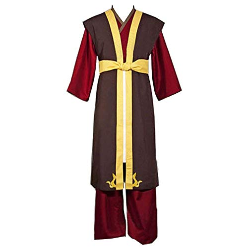 Zuko Book Three Fire Prince of The Fire Nation Outfit Cosplay Costume (Male M) Brown