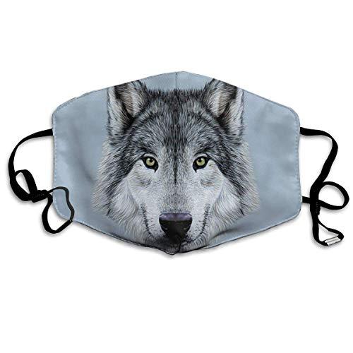 Bequeme Winddichte Maske, Wolf-Porträt mit schönem Blick Erhabene Tierillustration Eckzahntier für Erwachsene