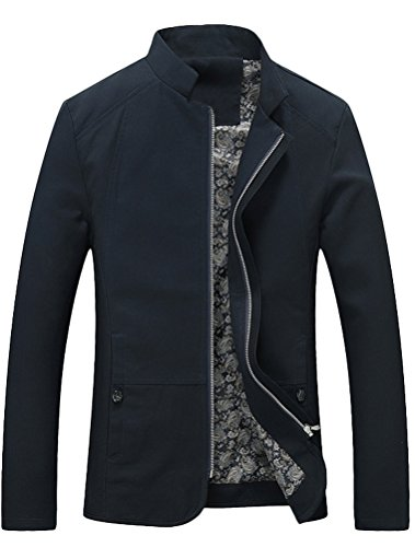 MatchLife Homme Veste Habillée Pardessus Col Mao Blazer Slim Fit Trench Coat-Bleu-XL