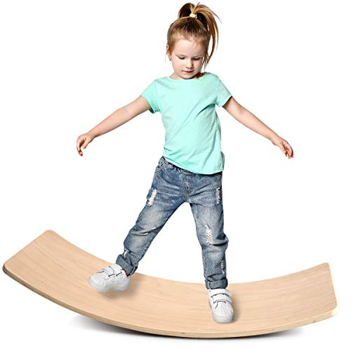 Wooden Wobble Balance Board,KDB 35 Inch Multifunction Rocker Board Natural Wood, Kids Toddler Open Ended Learning Toy , Yoga Curvy Board for Classroom & Office Adult