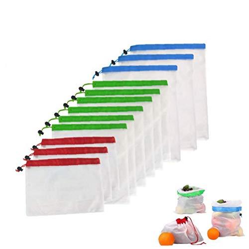 MICHAELA BLAKE 3 Piezas Reutilizables Producir Bolsas, Fundas Vegetal Popular poliéster de Frutas y Verduras con cordón Reutilizable del Organizador del hogar
