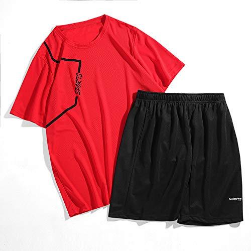 TANERDD Ropa de Baloncesto Traje Tops y Shorts Niños Ropa Deportiva de Verano Traje de Entrenamiento Casual T-Shirt+ Pantalones,Rojo,XXXXL