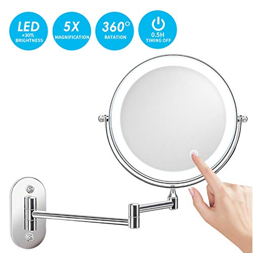 alvorog Espejo de Maquillaje con Luz LED 1X/5X Aumento Espejos de Aumento de Pared de Doble Cara Giratorio Espejos Extensibles para Baño y Tocador