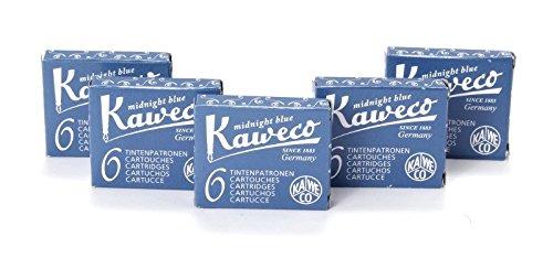 Kaweco Füllfederhalter, kurze Tintenpatronen Packung mit 5 x 6 Stück (insgesamt 30 Stück) Mitternachtsblau (blau / schwarz)