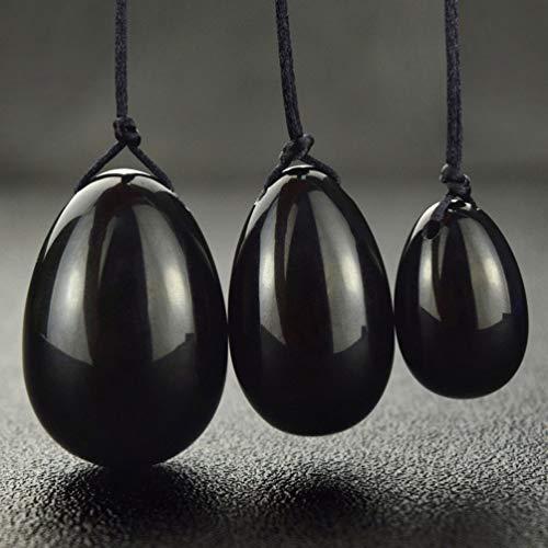 Healifty 3 Stück Kegel Übung Yoni Eier Beckenboden Jade Eier Schwarze Obsidian Eier für Frauen Gesundheitswesen