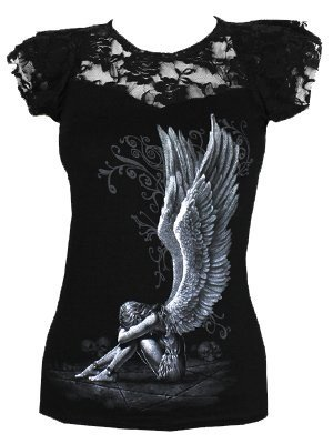 Spiral Direct Enslaved Angel-Lace Layered Cap Sleeve Top Camiseta, Negro (Black 001), 48 (Talla del Fabricante: X-Large) para Mujer