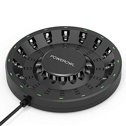 Powerowl Batterijlader, 16 sleuven voor AA/AAA-batterijen, oplaadbare NiMH NICD-batterijen en meer hoge snelheid opladen met intelligente LED-lamp