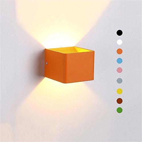 LED Fix Wandleuchte Bunte Quadratische Wandlampe Indoor Kinderzimmer Dekorative Wandleuchte Moderne Nordic Style Wandleuchte Wohnzimmer Veranda Garten Beleuchtung Lampe 7W (Color : Orange)