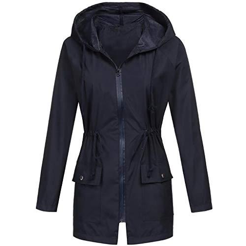 2019 dames effen regenjas, outdoor capuchon waterdichte jas, herfst winter lange mouwen casual dagelijks winddicht bovenkleding