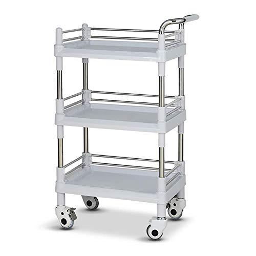 DSENIW QIDOFAN - Carrito con ruedas con ruedas (3 niveles, con rueda y freno universales, carrito con ruedas SPA, carrito portátil sobre ruedas, gris, 54 x 37 x 100 cm)