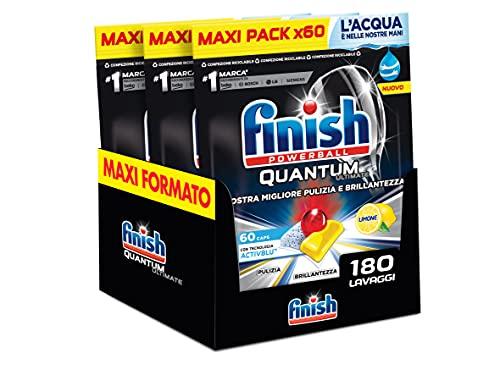 Finish, 180 Pastiglie Per Lavastoviglie, Quantum Ultimate, Tecnologia Activblu, 3 Confezioni Da 60 Pastiglie, Limone