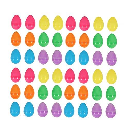 nJiaMe 48pcs Pascua Fillable Huevos plásticos Sorpresa Huevos de Pascua por conservar donaciones Creme 5.5 * 4cm Coloridas