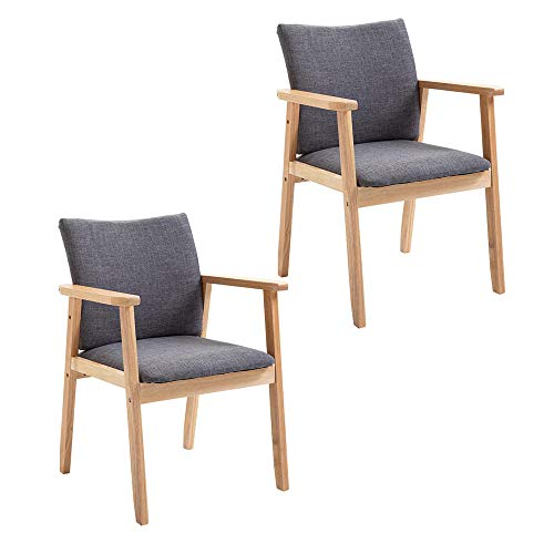 Upholstered Dining Chairs with Wooden Legs,Retro Lounge Chair,Solid Wood Oak Legs Padded Seat,for Kitchen Dining Room Living Room Bedroom Lounge Leisure -Gray
