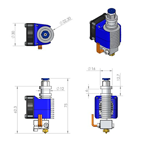 Gulfcoast Robotics] todo el metal V6 Bowden Extruder Hotend para ...