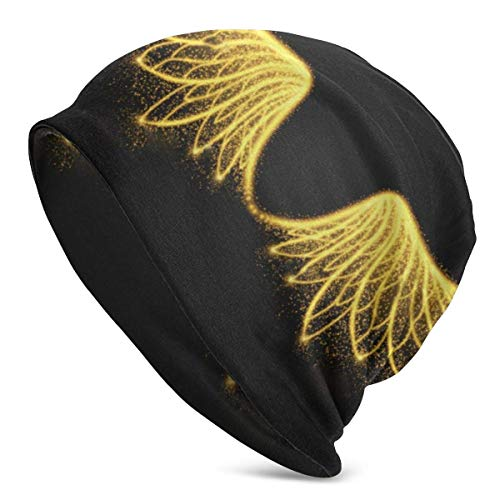 Maselia Gorro de Punto de Calavera Unisex Gorra Golden Wingss Knit Ski Skull Cap Gorro de Punto