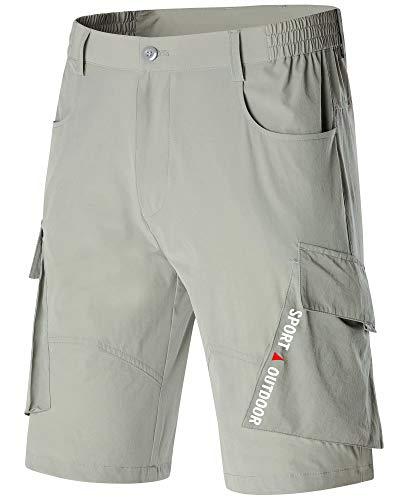 MAGCOMSEN Mens Casual Shorts Elastic Waist with Pockets Hiking Shorts Lightweight Cargo Shorts Camping Hiking Fishing Shorts Travel Shorts