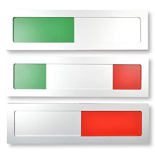 Frei - Besetzt Universal Schild Modell S Aluminium - Mit Schieber - Frei Besetzt Schiebeschild mit Grün Rot Indikator - 10 cm x 2,8 cm x 4 mm - Starke 3M Klebefläche - Besprechungsraumschild