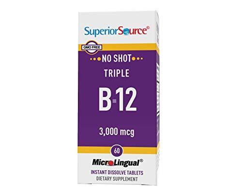 Superior Source No Shot Triple B12 3000 mcg, Quick Dissolve Sublingual Tablets, 60 Ct, Methylcobalamin, Adenosylcobalamin & Cyanocobalamin, Cognitive & Heart Health, Nervous System, Non-GMO