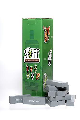 SUFF - Spielen und Freunde Finden | Partyspiel zum Vortrinken | je 54 Trinkregeln in 4 verschiedenen Spielmodi | Holzturm als Trinkspiel