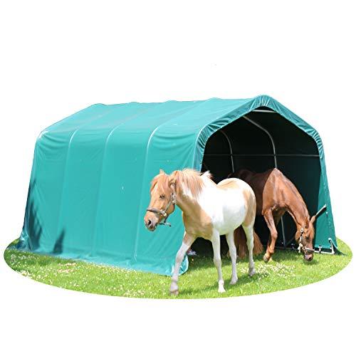 TOOLPORT Weidezelt Offenstall 3,3 x 6 m Weideunterstand ca. 550 g/m² PVC Unterstand Pferde Stall grün