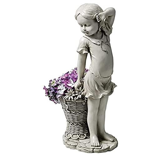Decoración de jardín, adornos de jardín para niña de flores al aire libre, estatua de jardín para niña, escultura, estatuilla, cesta, adorno para césped, esculturas 3.12x2.34x6.05 pulgadas