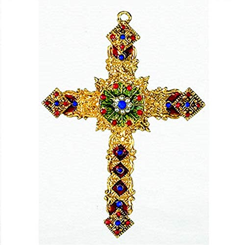 Gold Cross with Gems and Filigree Metal Christmas Tree Ornament Decoration New